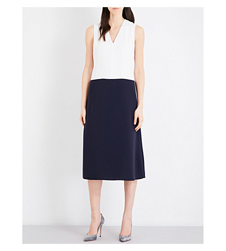 MAX MARA Netto colour block woven midi dress (Ivory+navy