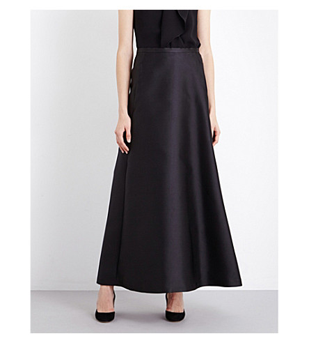 MAX MARA ELEGANTE Nevada a-line satin skirt (Black