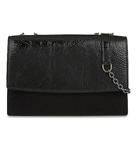 MAX MARA Leather and suede cross-body bag (Black