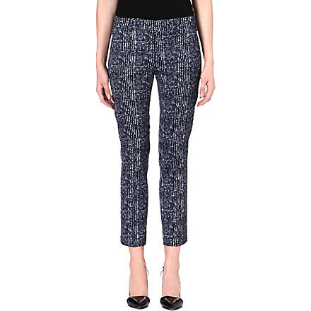 SPORTMAX Noemi tweed-print satin trousers (Navy
