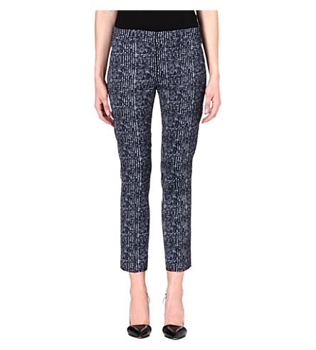SPORTMAX Noemi tweed-print satin trousers (Navy
