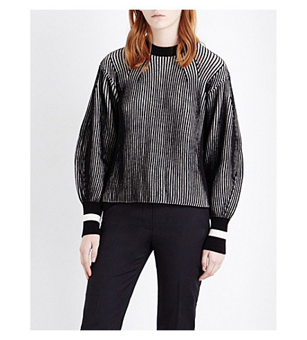 SPORTMAX Nome striped knitted jumper (White+black
