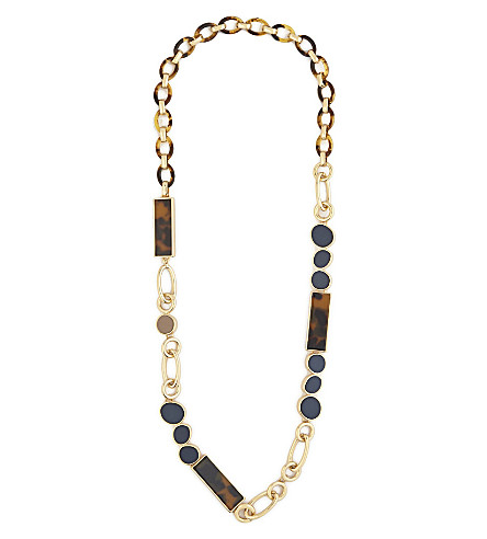 S MAX MARA Metal and resin chain necklace (Gold