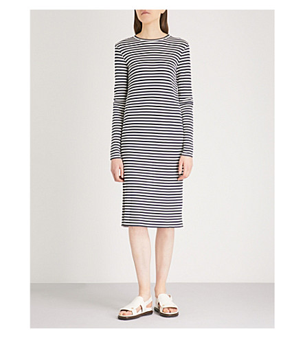 S MAX MARA Oggetti striped woven dress (Navy+stripe