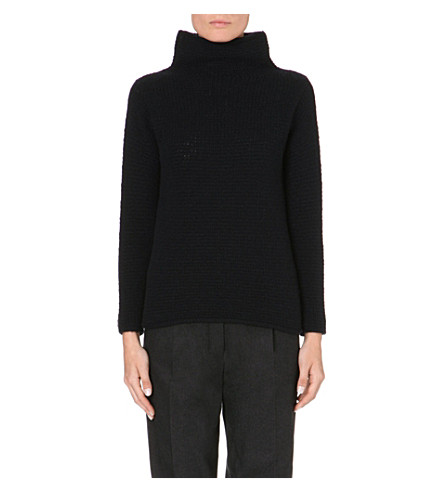 S MAX MARA Olmo turtleneck wool and cashmere-blend jumper (Navy