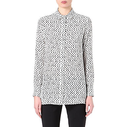 SPORTMAX Number-print silk shirt (Black/white