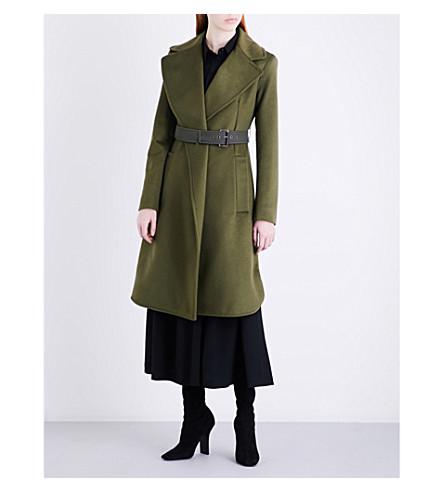 SPORTMAX Ordito belted brushed-wool coat (Khaki
