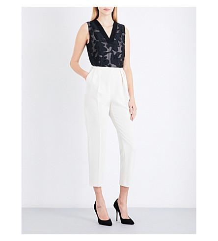 MAX MARA ELEGANTE Orleans floral-crepe jumpsuit (Ivory+black