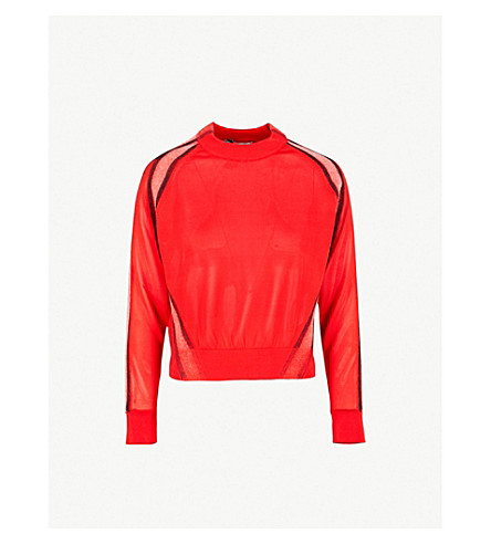 MAX MARA Ornati contrast-panel wool jumper (Red