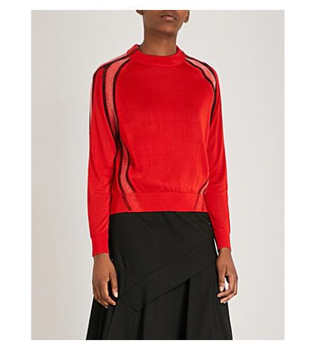 SPORTMAX Ornati contrast-panel wool jumper (Red