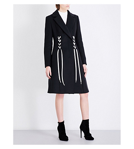 SPORTMAX Ornel wool and cashmere-blend coat (Black+white