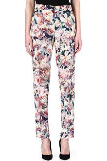 SPORTMAX Silk tailored floral trousers