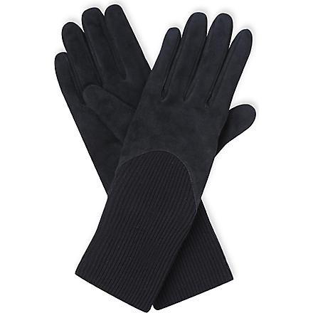 SPORTMAX Long-length suede gloves (Black