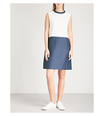 S MAX MARA Colourblocked cotton-blend shift dress (White+blue
