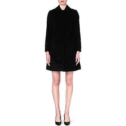 S MAX MARA Faux fur textured coat (Black