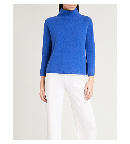 MAX MARA Osvaldo high neck striped striped cashmere jumper (Cornflower+blue