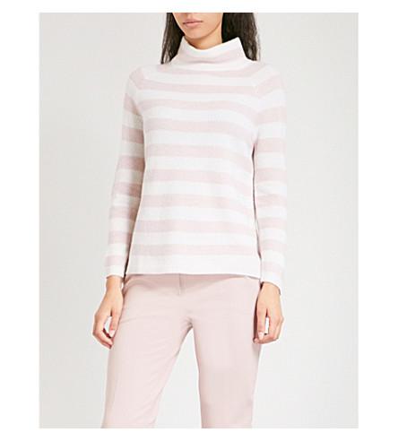 MAX MARA 奥斯瓦尔多高领条纹条纹羊绒毛衣 (粉红色