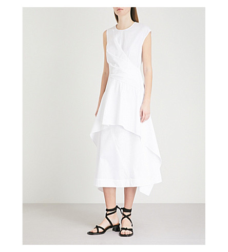 SPORTMAX Ottobre wrap-over cotton-poplin dress (White