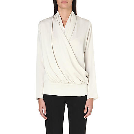 MAX MARA Ovale wrap-front silk blouse (Ivory