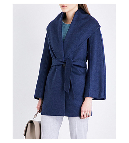 MAX MARA Paglie cashmere wrap coat (China+blue