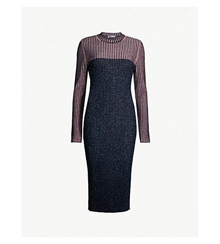 SPORTMAX Pania 对比针织连衣裙 (蓝色 + 粉红色