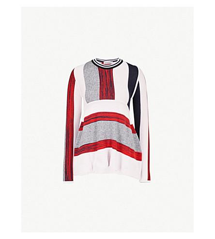 SPORTMAX Striped wool-blend jumper (Red