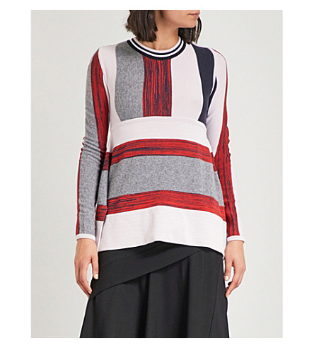 SPORTMAX Striped wool-blend jumper (Red