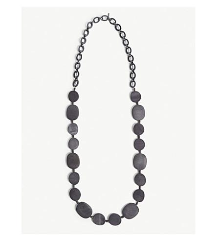 S MAX MARA Pepaia wooden disc necklace (Navy