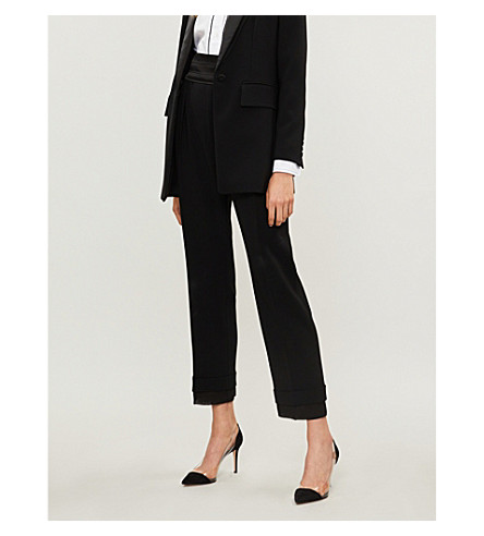 MAX MARA Mid-rise cropped pure-cotton trousers (Black