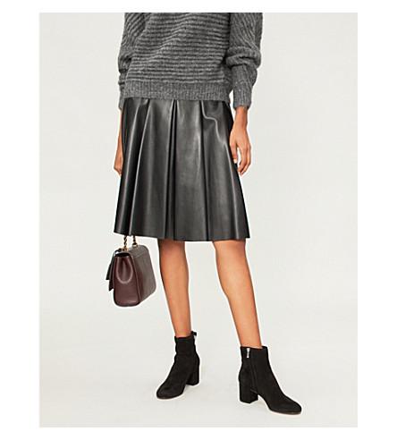 S MAX MARA Pergola pleated faux-leather skirt (Black