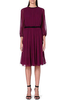 MAX MARA PIANOFORTE Pesche pleated chiffon dress