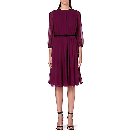 MAX MARA PIANOFORTE Pesche pleated chiffon dress (Plum