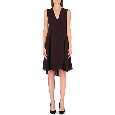 SPORTMAX Pilade pleated silk dress (Burgundy
