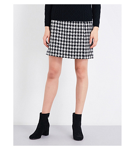 S MAX MARA Pinna houndstooth high-rise wool-blend mini skirt (Black