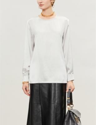 Dropped-hem silk blouse