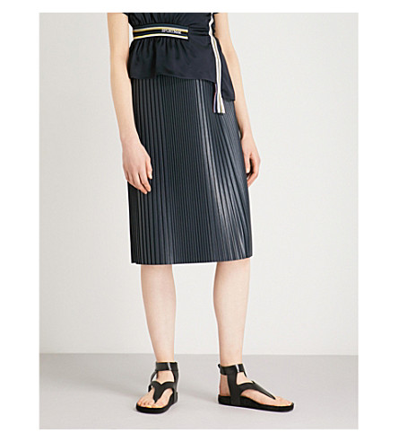 SPORTMAX Pirenei faux-leather skirt (Midnightblue