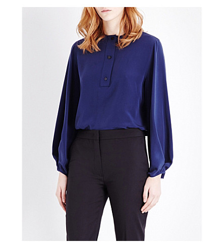 SPORTMAX Pisano silk-georgette top (Midnight+blue