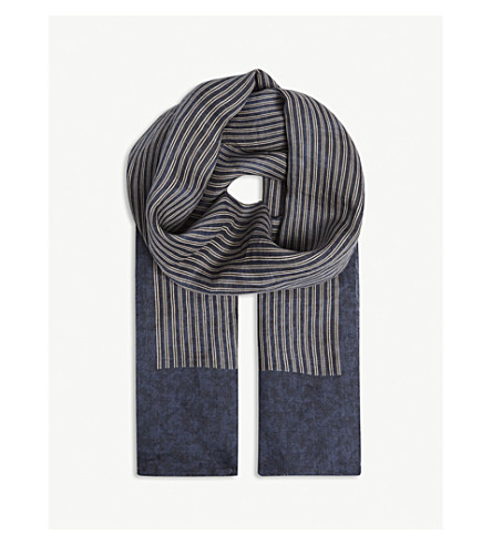S MAX MARA Pittura striped ramie scarf (Blue+stripe