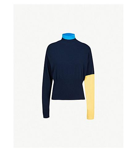 SPORTMAX Colourblocked-pattern knitted jumper (Midnight+blue