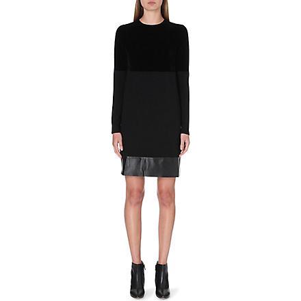 SPORTMAX Leather-trim jumper dress (Black