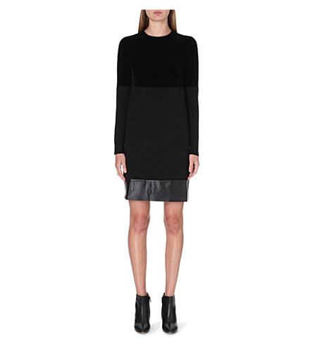 SPORTMAX Leather-trim jumper dress (Black
