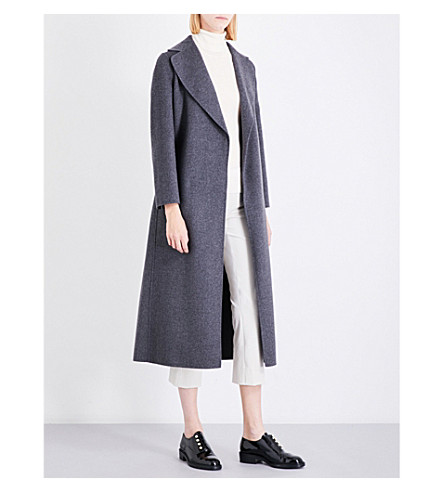 S MAX MARA Double-faced wrapped wool coat (Grey