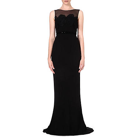 MAX MARA PIANOFORTE Sleeveless crepe gown (Black