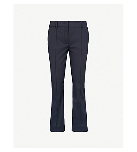 SPORTMAX Pompei cropped mid-rise stretch-cotton trousers (Navy