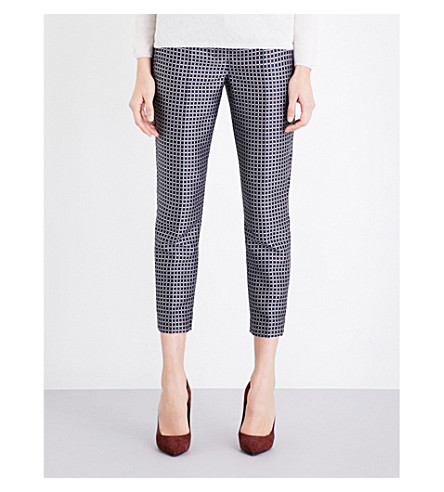 S MAX MARA Cropped grid-pattern jacquard trousers (Navy