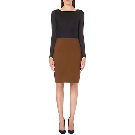MAX MARA Colour-block wool dress (Grey/blue/tobacco