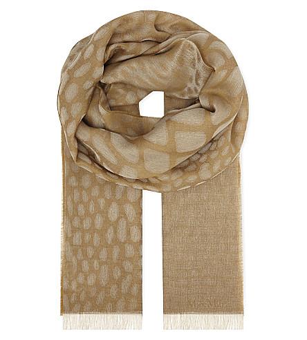 MAX MARA Crocodile print wool scarf (Camel
