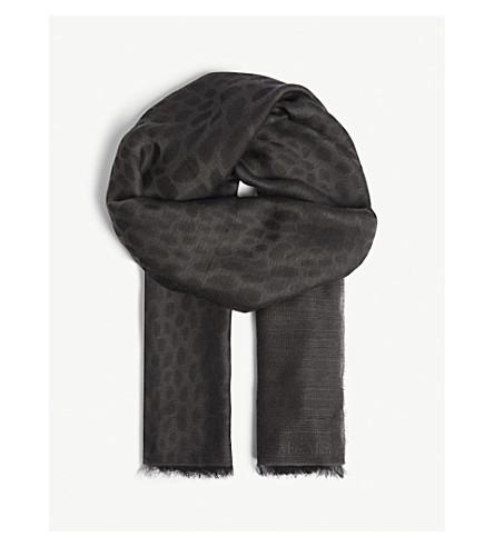 MAX MARA Crocodile-print wool and modal-blend scarf (Dark+grey