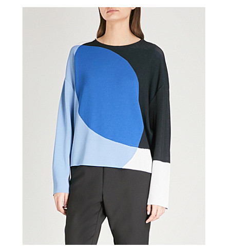 SPORTMAX Colour-block woven jumper (Sky+blue