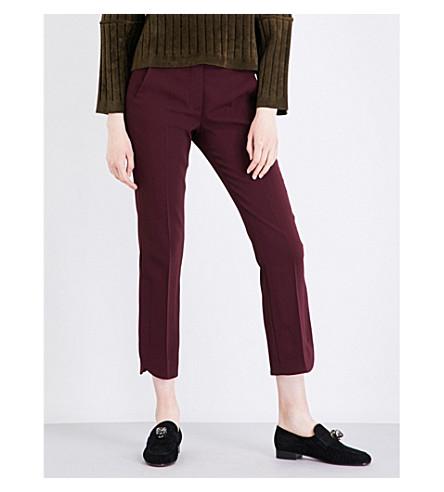 SPORTMAX Split-hem straight mid-rise crepe trousers (Plum